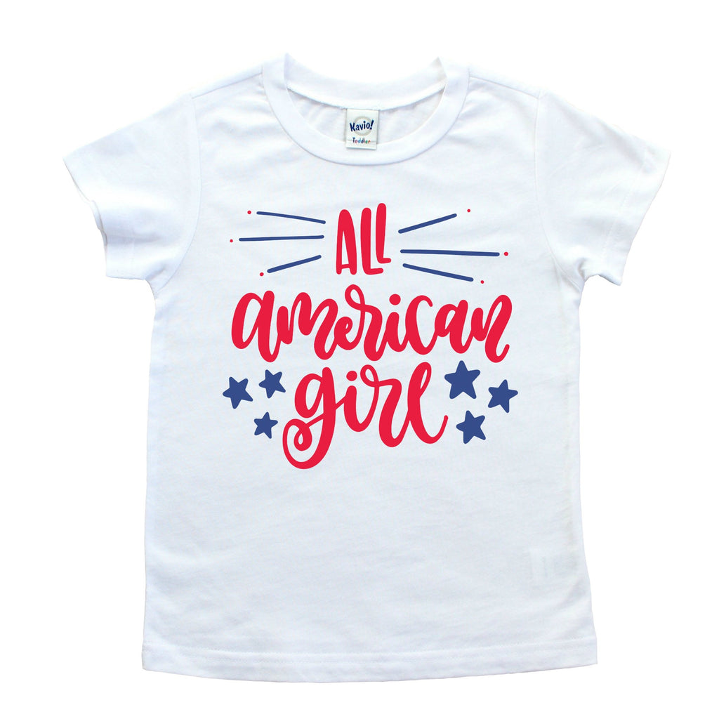 White short sleeve shirt with all american girl written in red with blue stars