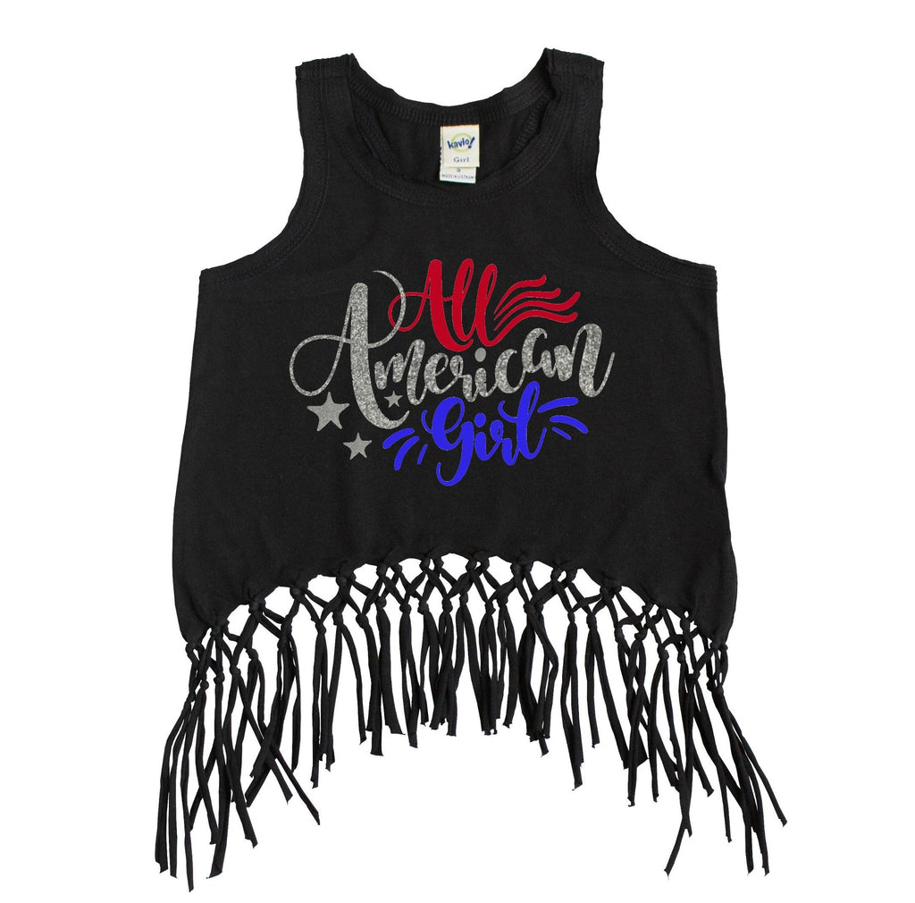 Black fringe tank top with All American Girl in Red and Blue with silver glitter
