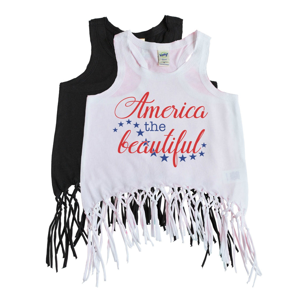 White fringe tank for girls with America the Beautiful in Red and Navy blue on the front with stars
