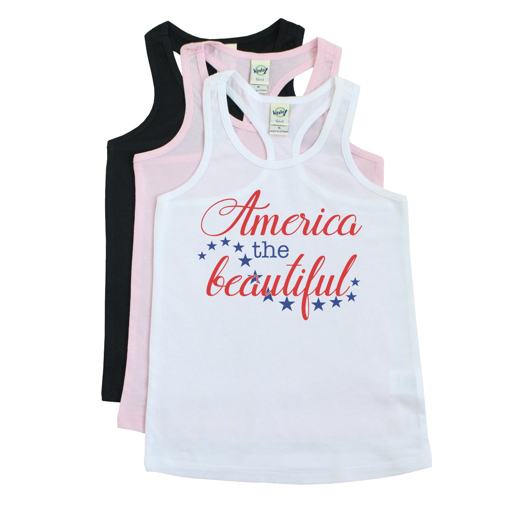 White racerback tank with America the Beautiful in red with blue stars