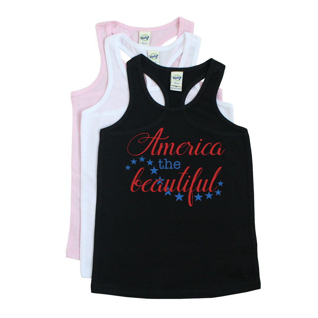 Black racerback tank with America the Beautiful in red with sky blue stars