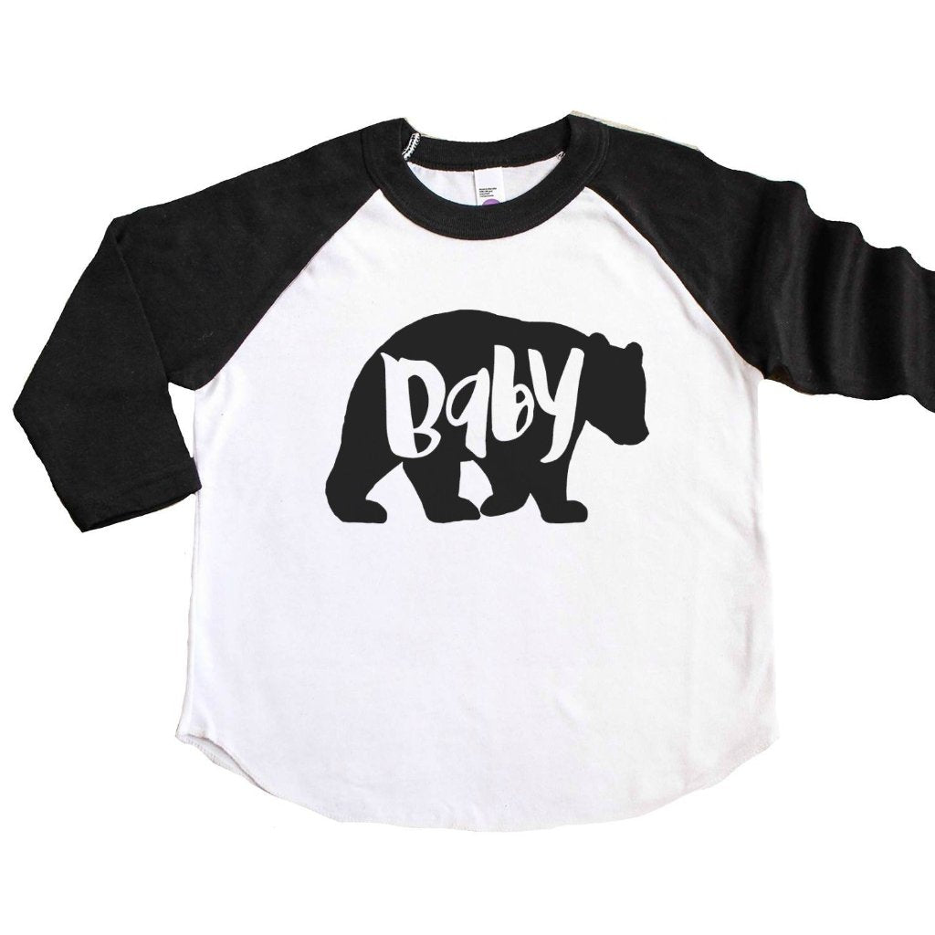 Black sleeve raglan tee with Baby Bear written in bear silhouette