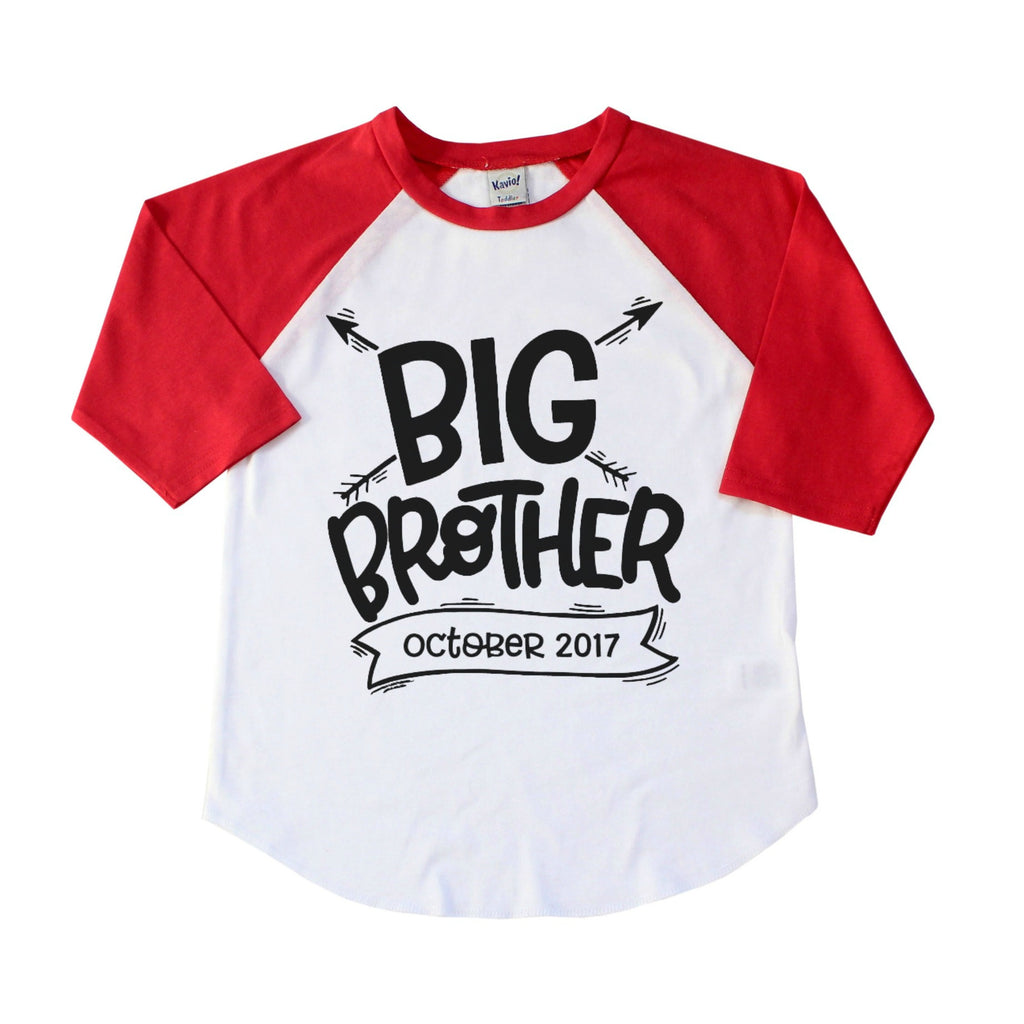 Red sleeve raglan with Big Brother and due date in banner in black