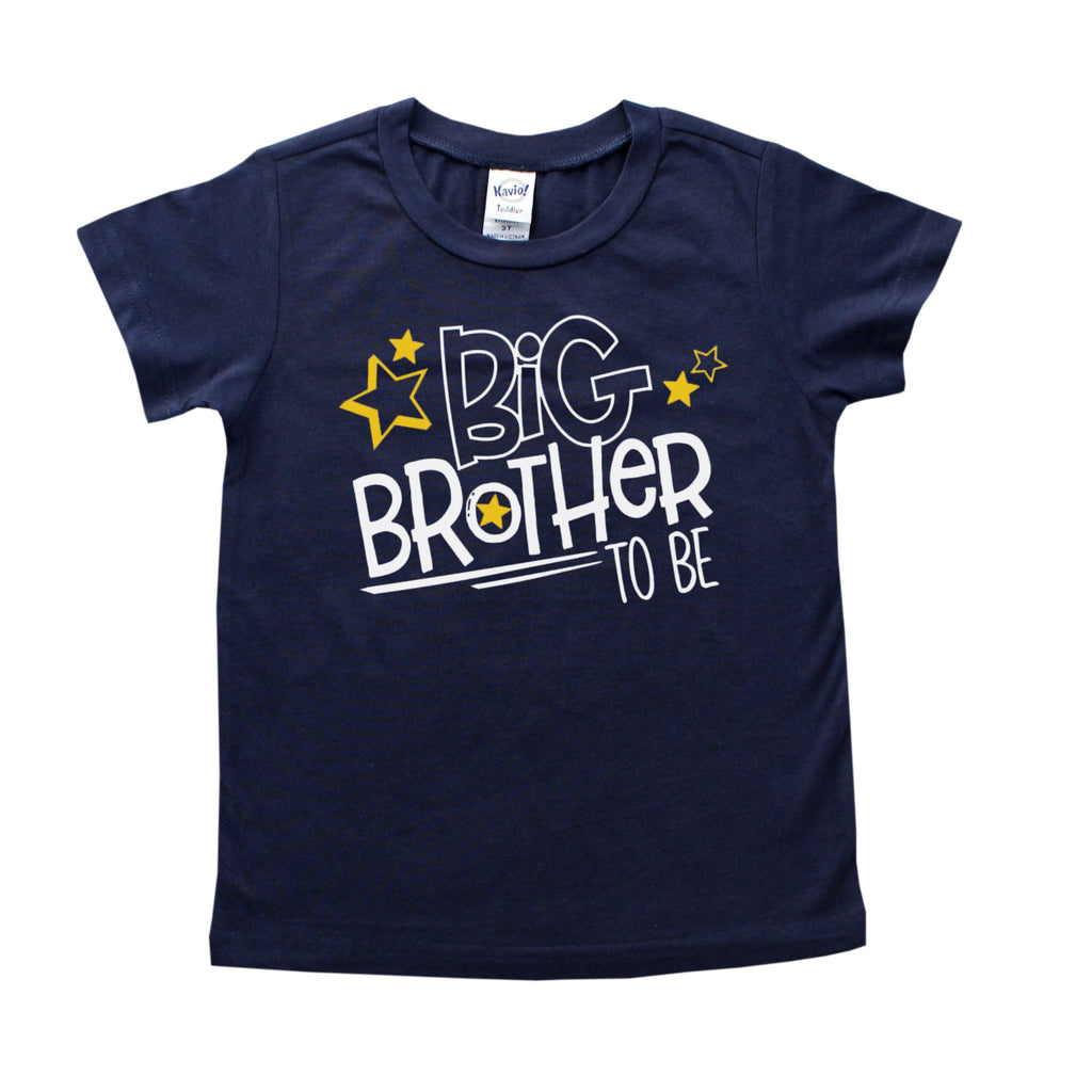 Navy blue shirt with Big Brother To BE in white and yellow