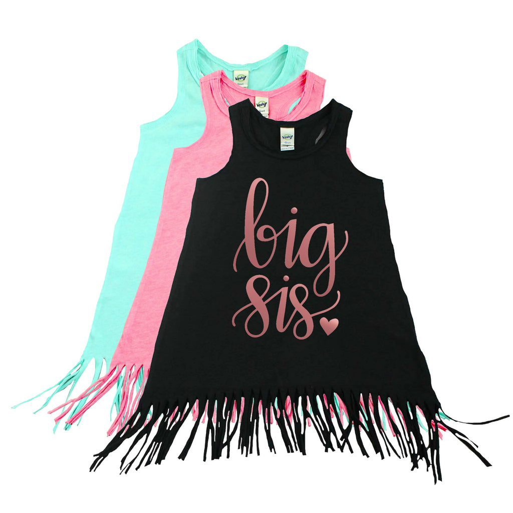 Black fringe dress with Big Sis written in rose gold
