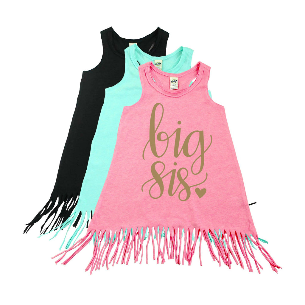 Pink fringe dress with Big Sis written in gold