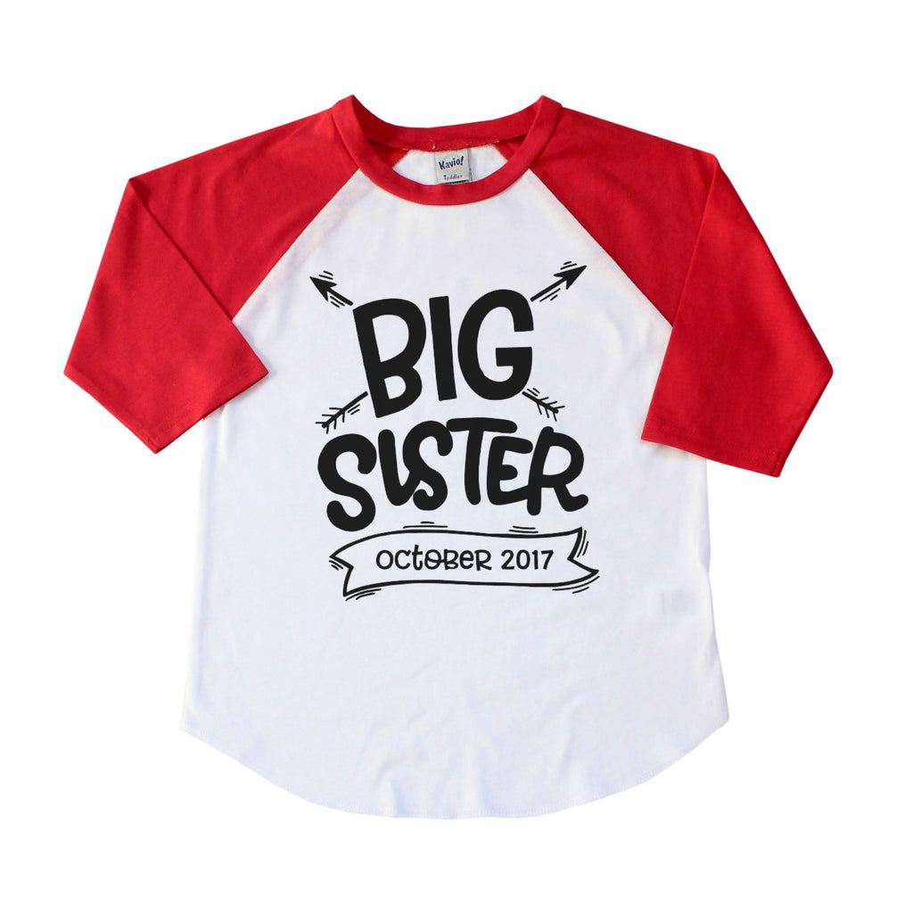 Red Sleeve Raglan with Big Sister and Due Date in black