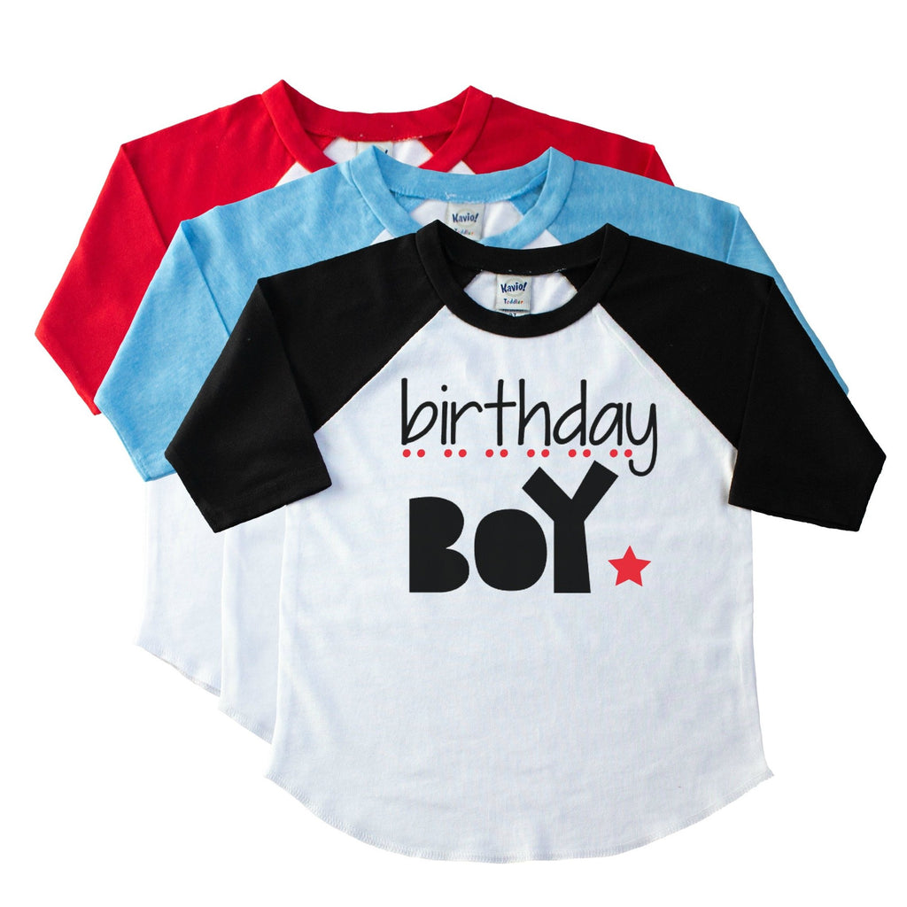 Black youth raglan tee with Birthday Boy in black with red star and dots
