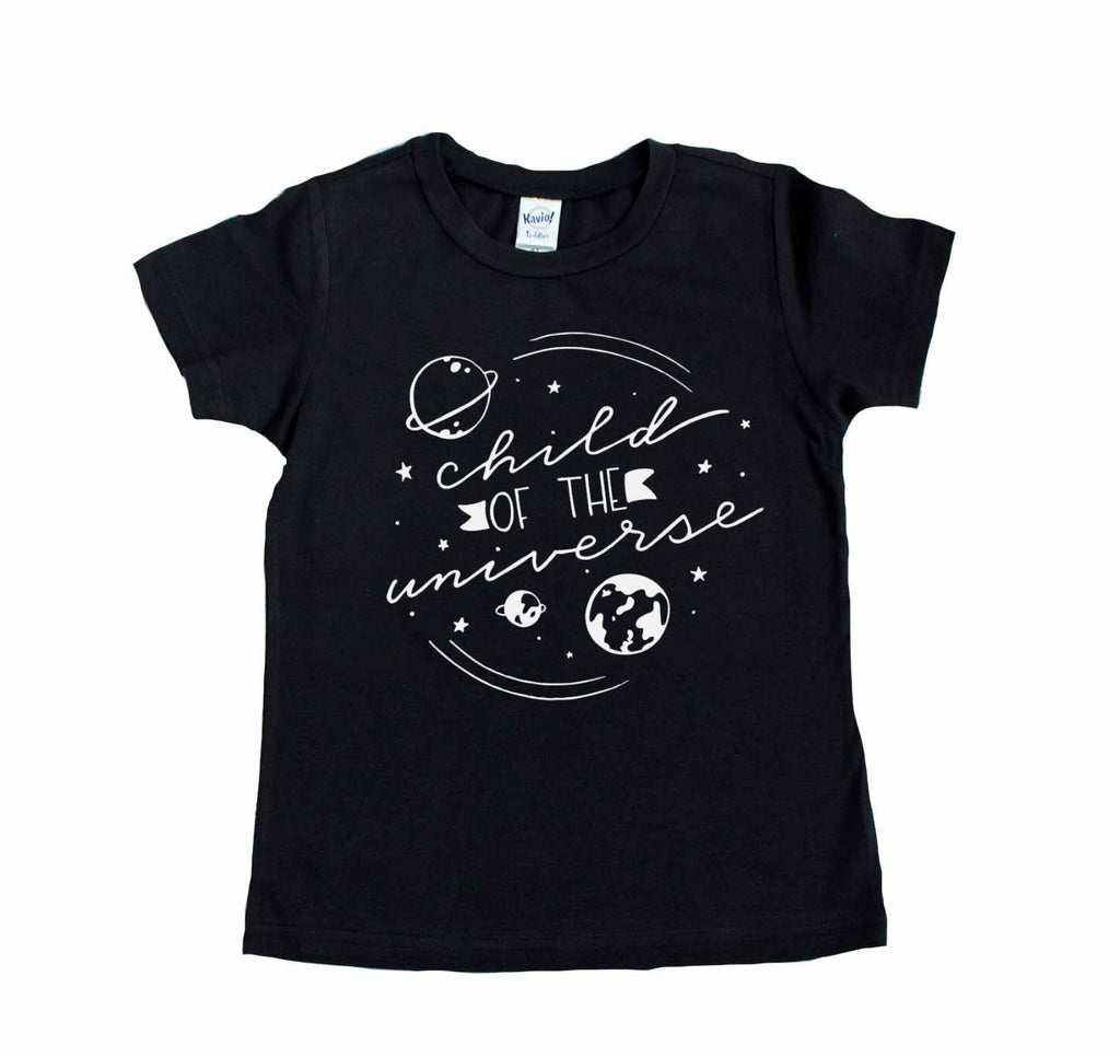 Black shirt with Child of the Universe and images of planets in white