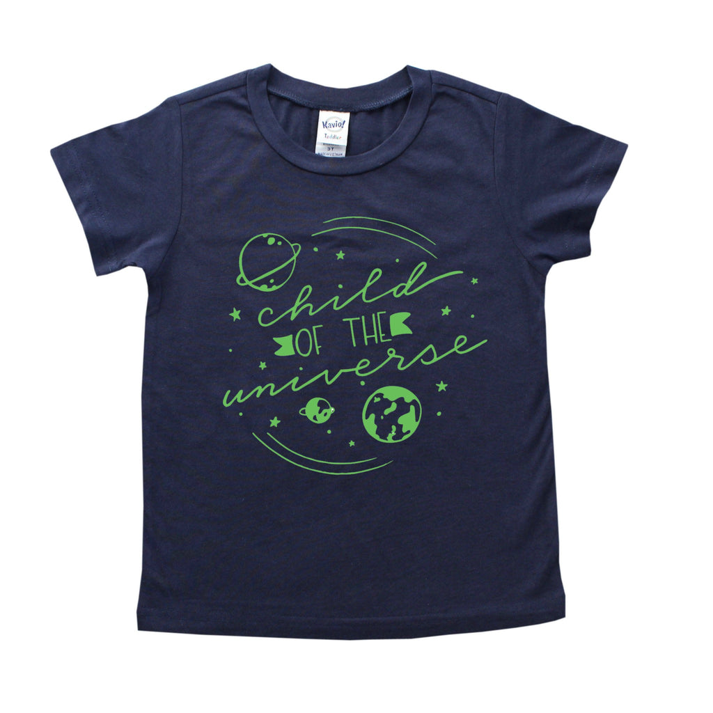 Navy blue shirt with Child of the Universe and planet images in green