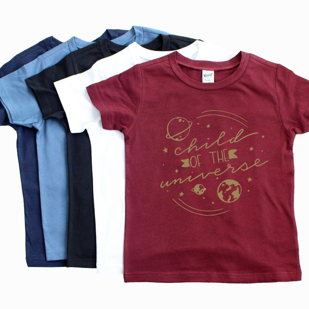 Wine colored shirt with Child of the Universe in gold with space images