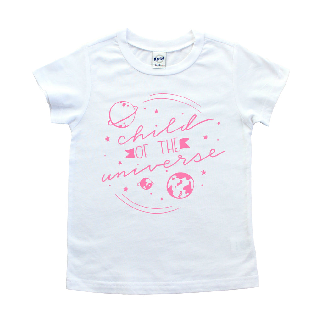 White shirt with Child of the Universe and planetary images in pink