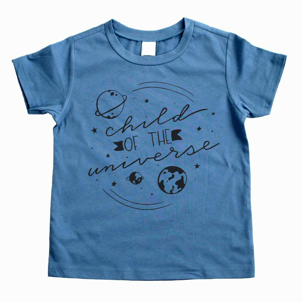 Steel blue shirt with Child of the Universe in black with solar system image