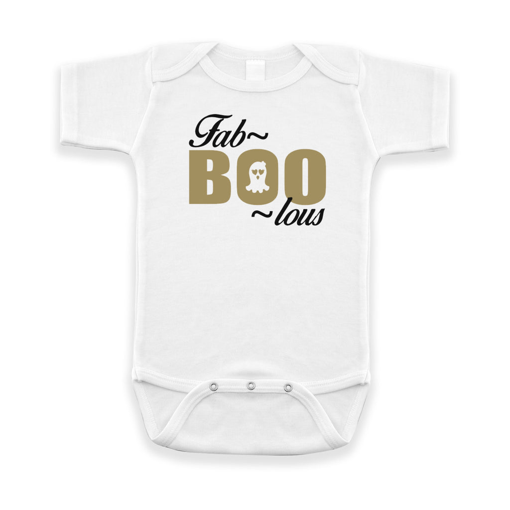 White short sleeve infant bodysuit with FabBOOlous in black and gold on the front