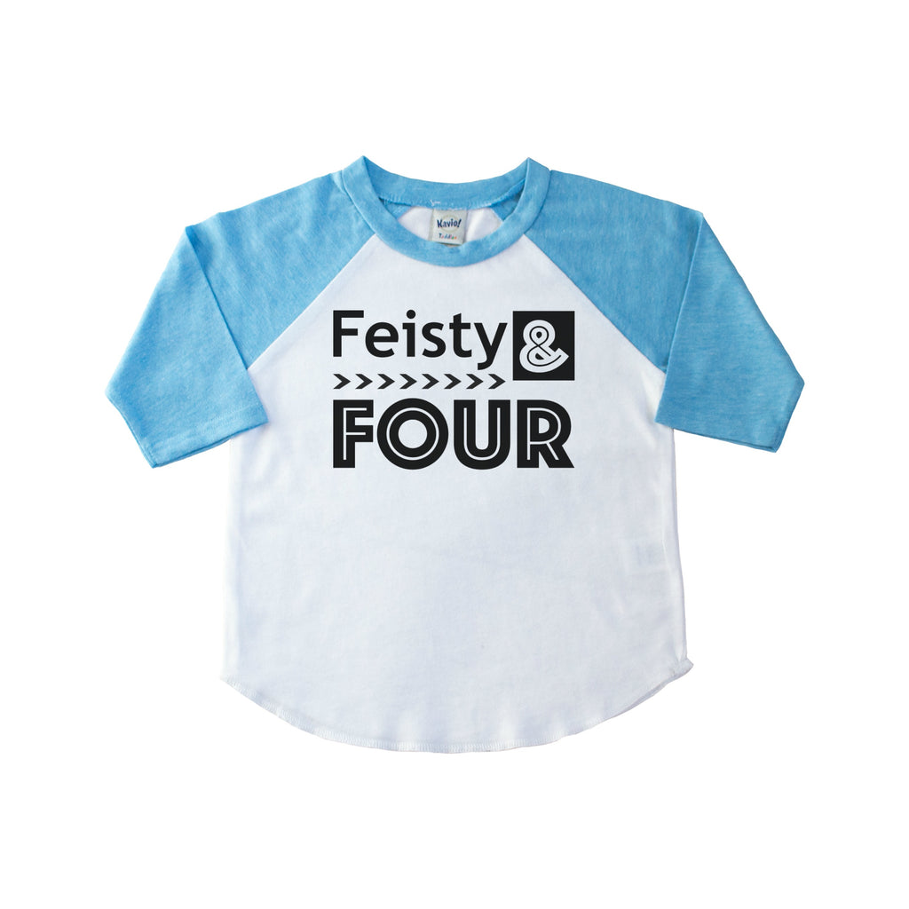 Blue sleeve child's raglan tee with Feisty and Four in black on the front