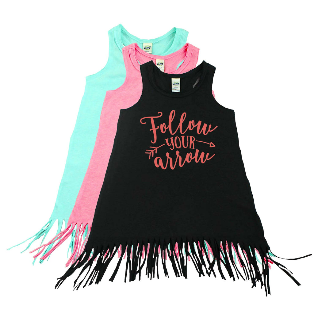 Black fringe dress with follow your arrow in hibiscus lettering