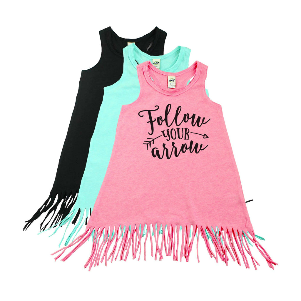 Pink fringe dress with follow your arrow in black