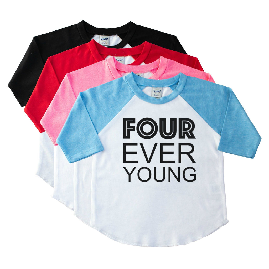 Toddler blue sleeve raglan tee with Four Ever Young in black on the front