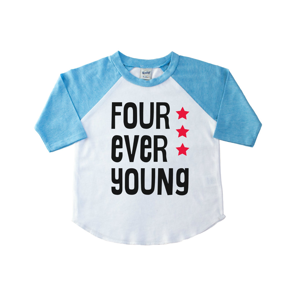 Blue sleeve kid's raglan with Four Ever Young in black with red stars