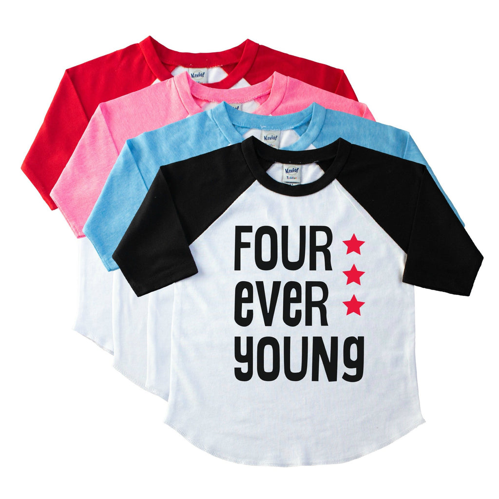 Array of youth raglans with black sleeve on top and Four Ever Young in Black with red stars