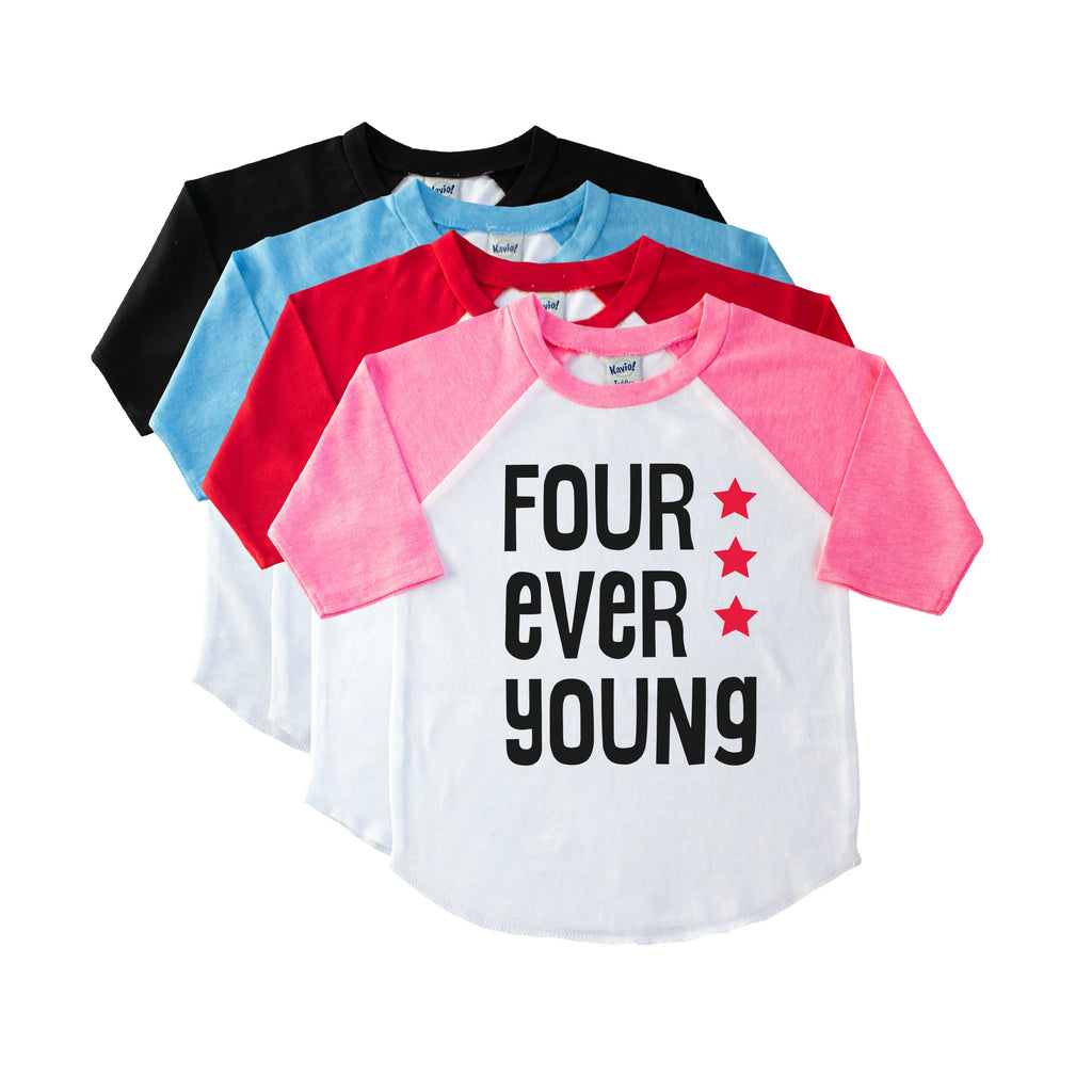 Pink sleeve child's raglan with Four Ever Young in black with red stars