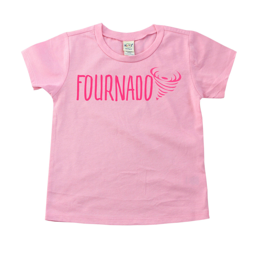 Pink tee with darker pink fournado on front