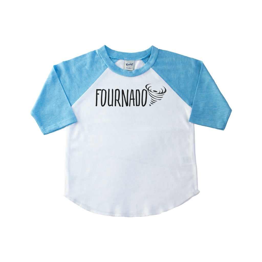 Children's blue sleeve raglan with Fournado and a tornado on the front in black