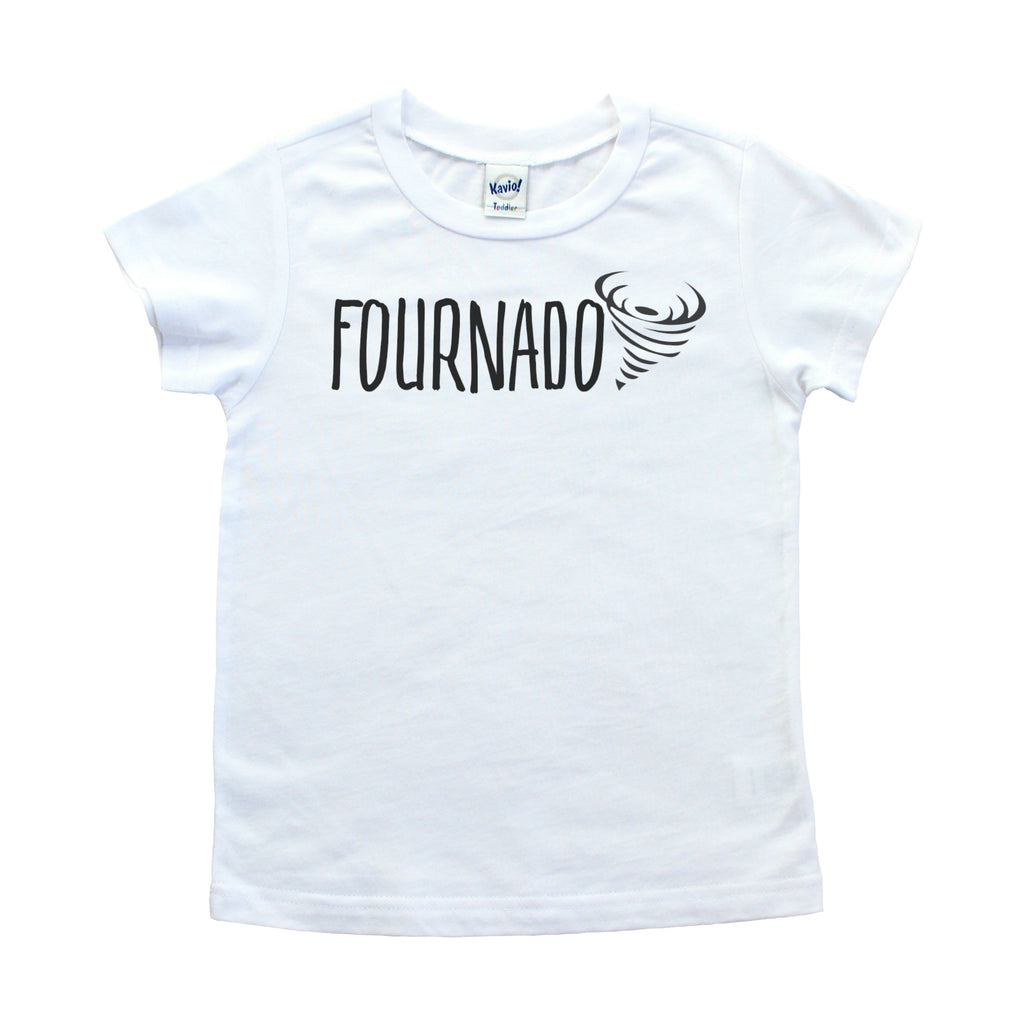 White tshirt with fournado written in black
