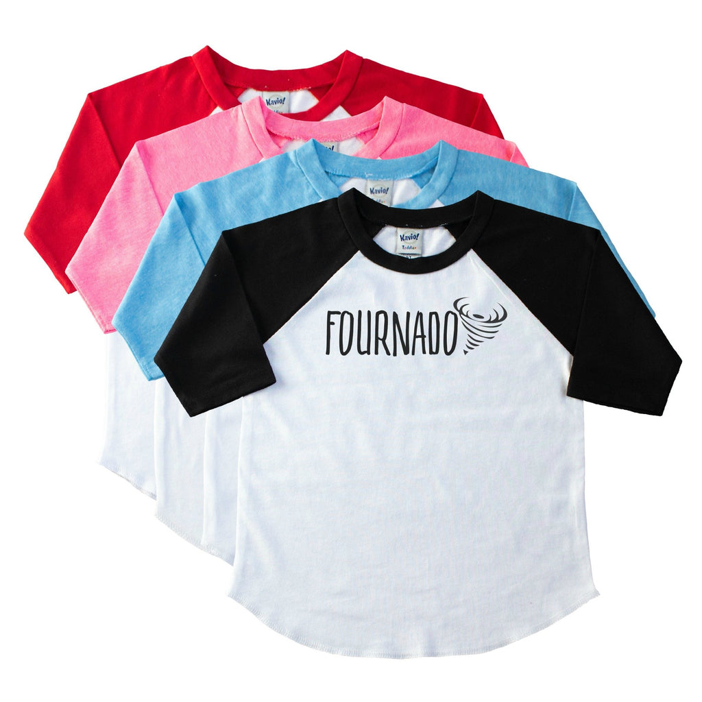Child's black sleeve raglan with Fournado and a tornado on the front in black