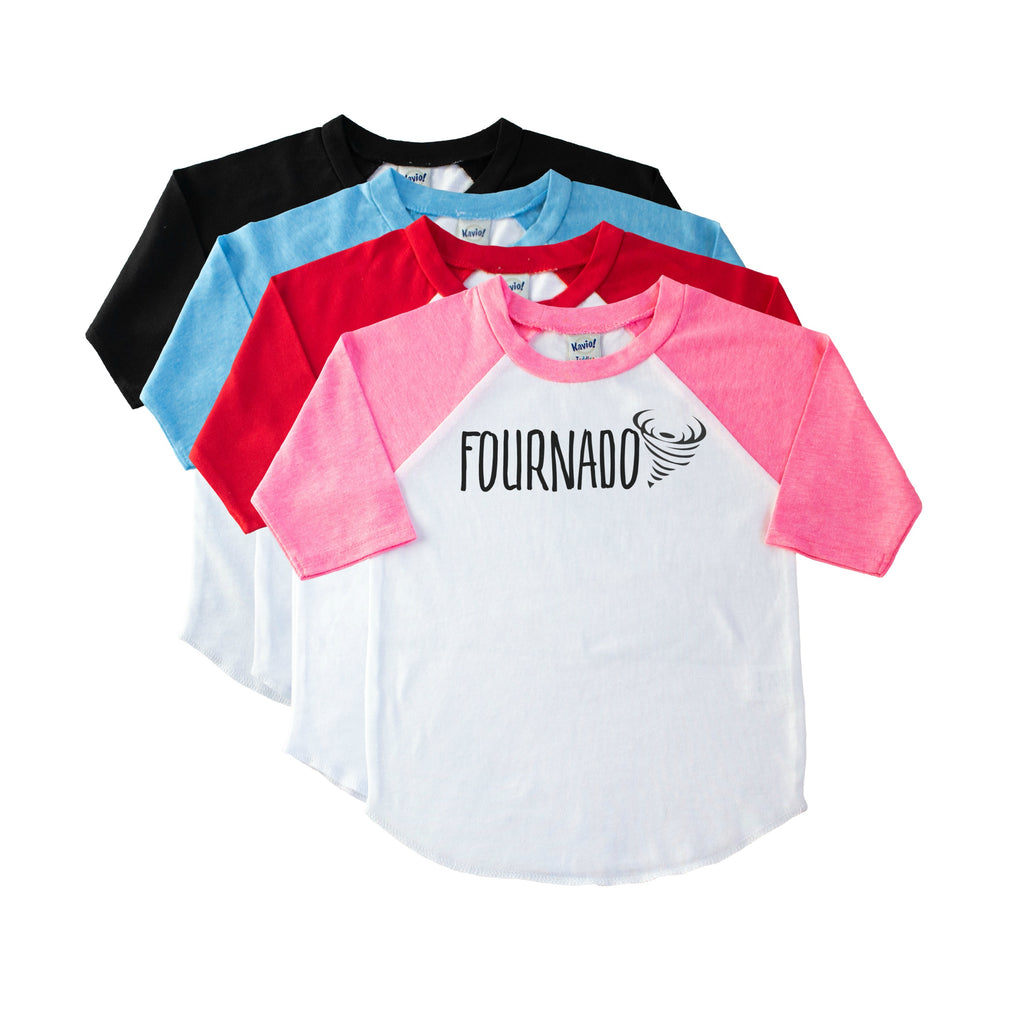 Kid's pink sleeve raglan with Fournado and a tornado in black on the front