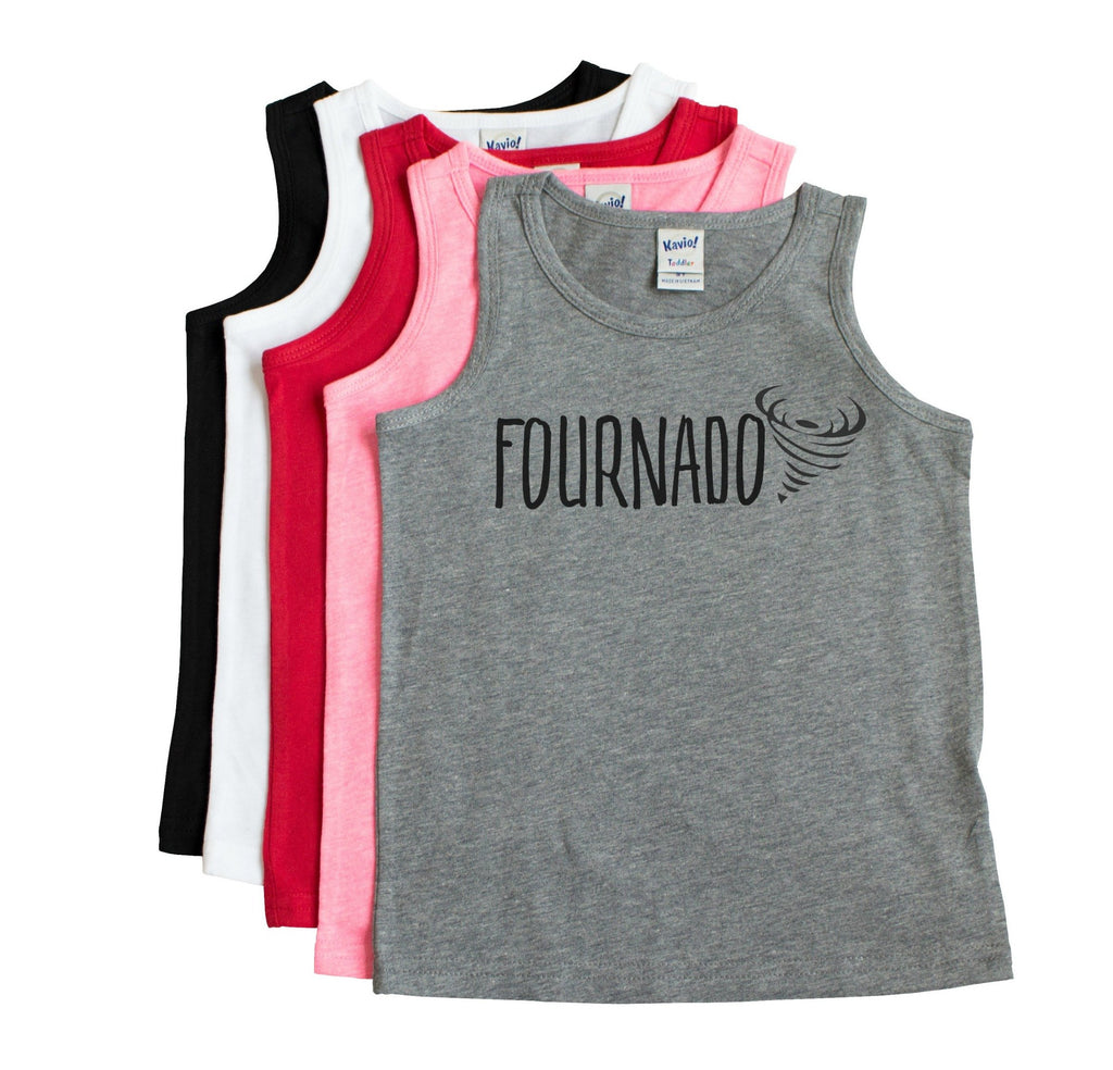 Grey unisex tank with Fournado written in black