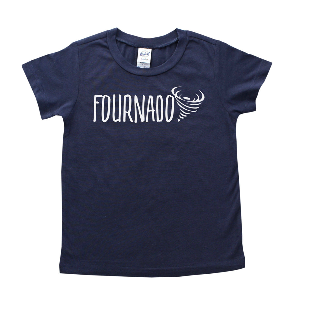 Navy blue shirt with fournado written in white