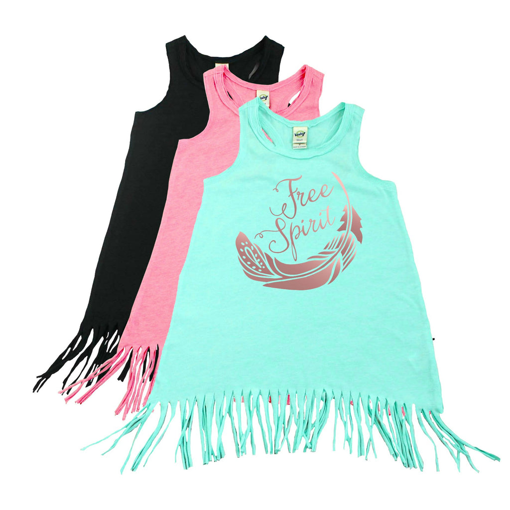 Green fringe dress with rose gold free spirit lettering