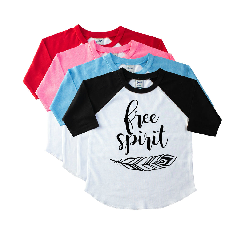 Girls' black sleeve baseball tee with Free Spirit and a feather in black on the front