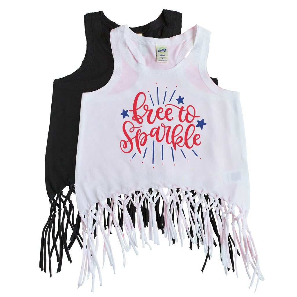 White over black fringe tank for girls with Free to Sparkle in red and blue