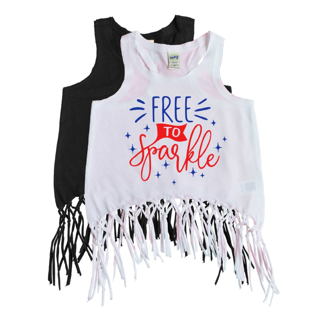 white fringe tank with free to sparkle written in blue and red