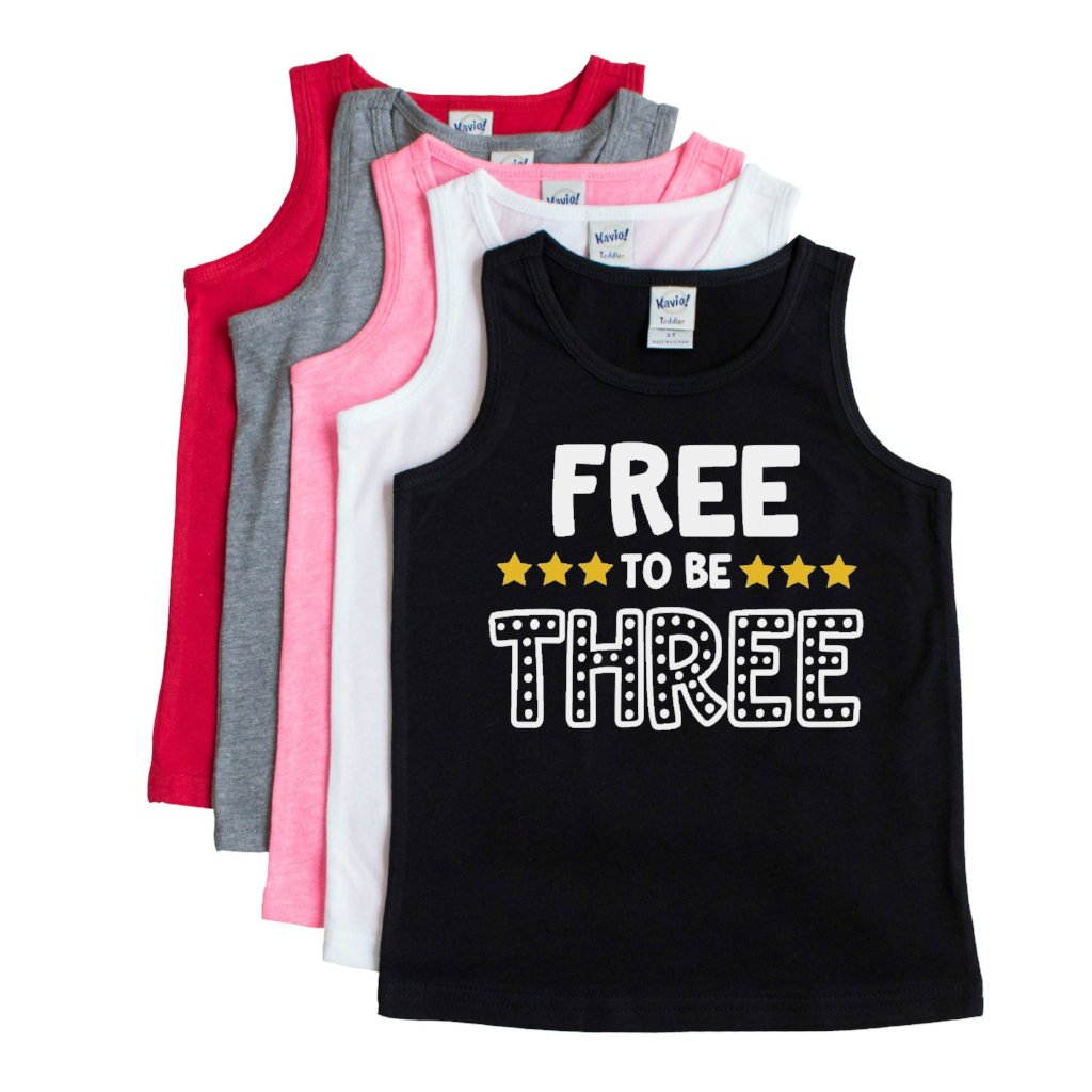 Black tank with free to be three in white and sun yellow