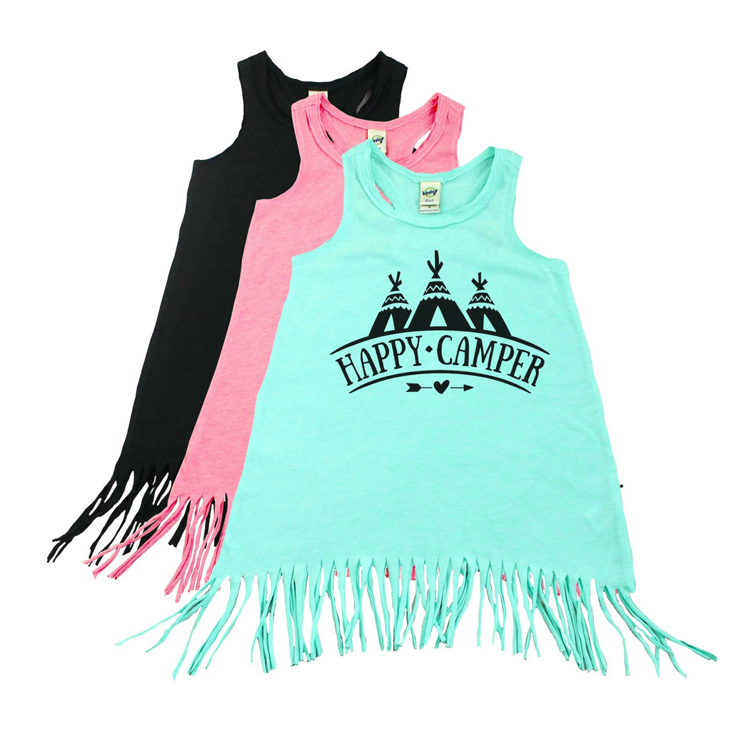 Green fringe dress with three teepees and happy camper written in black
