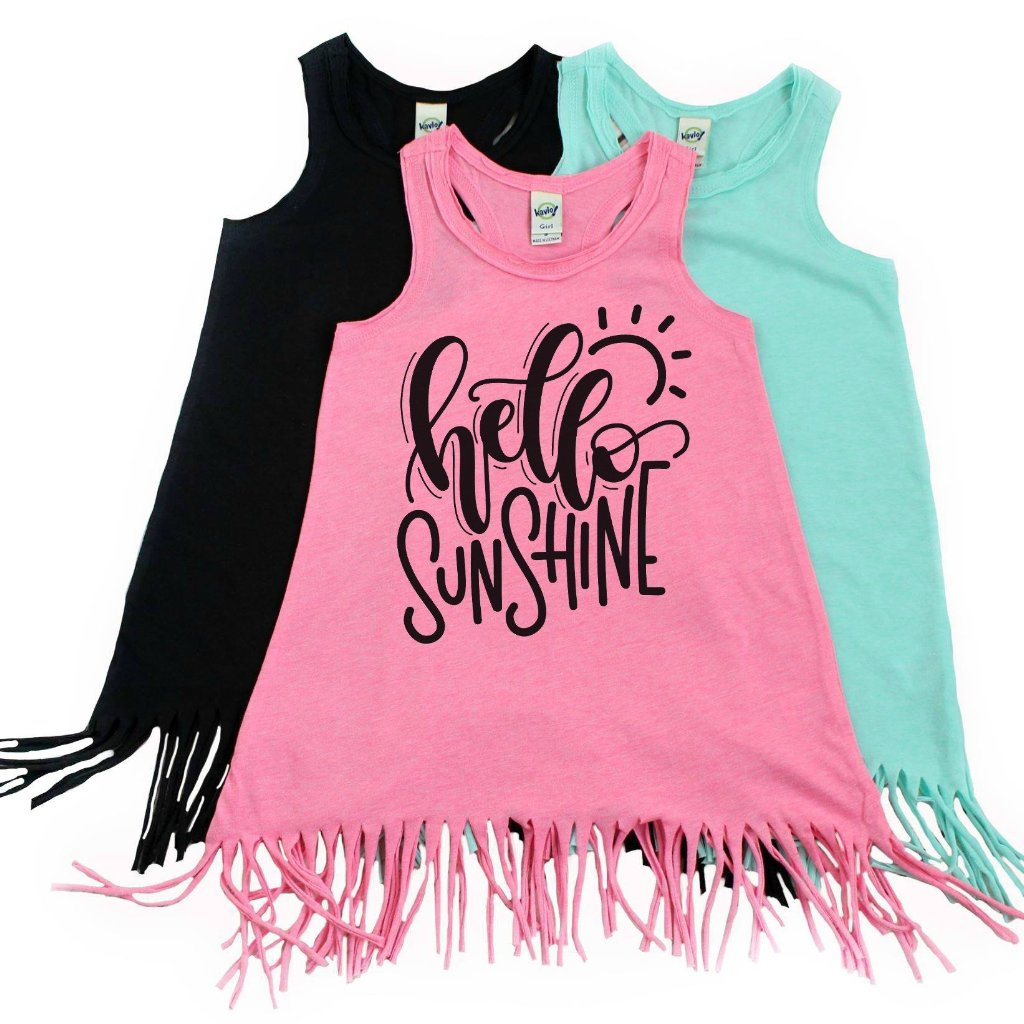 Pink fringe dress with hello sunshine written in black