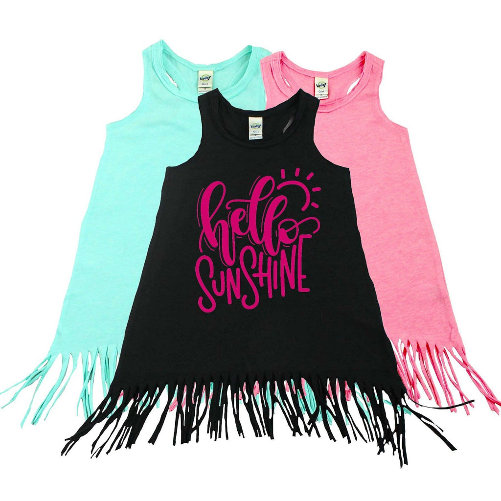 Black fringe dress with hello sunshine written in pink