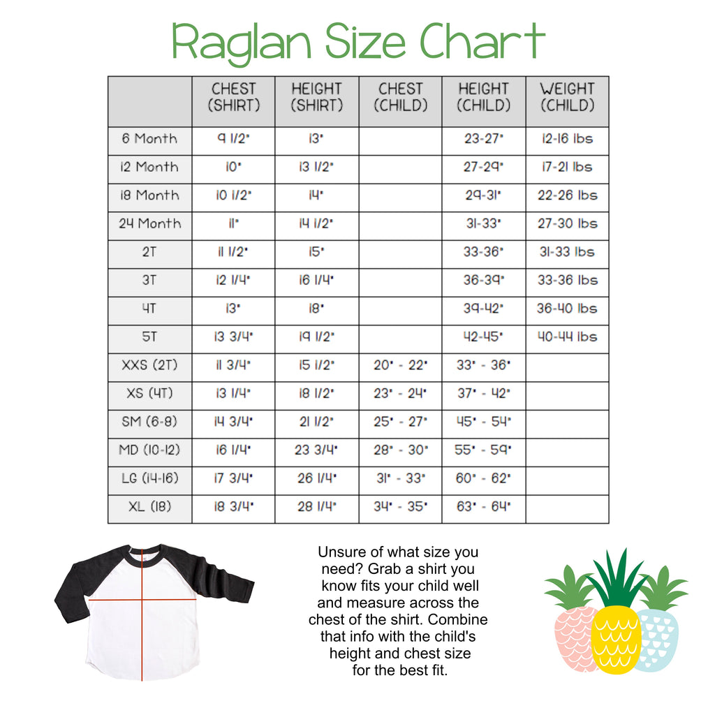 Infant toddler and youth raglan size chart