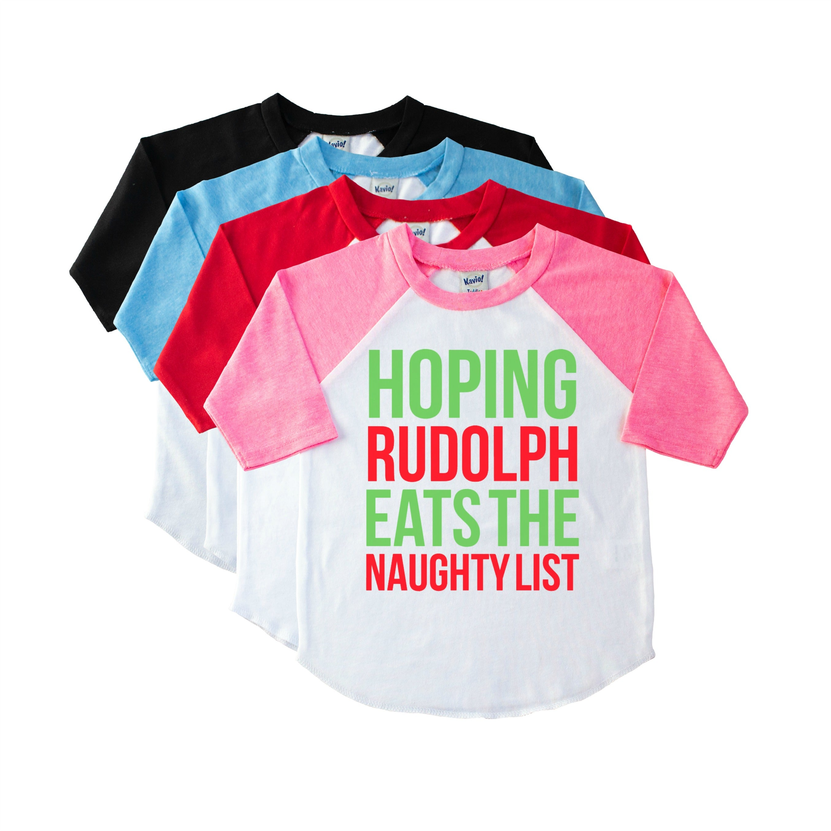 3669ea3f4f56 Hoping Rudolph Eats The Naughty List Funny Kids  Christmas Shirt ...