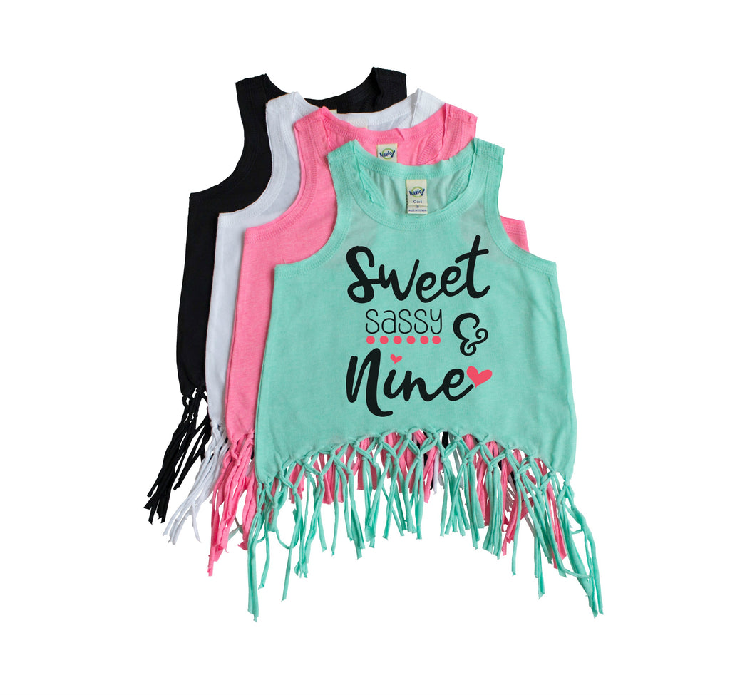 Mint green fringe tank for girls with Sweet Sassy and Nine in black with rose gold heart and dots