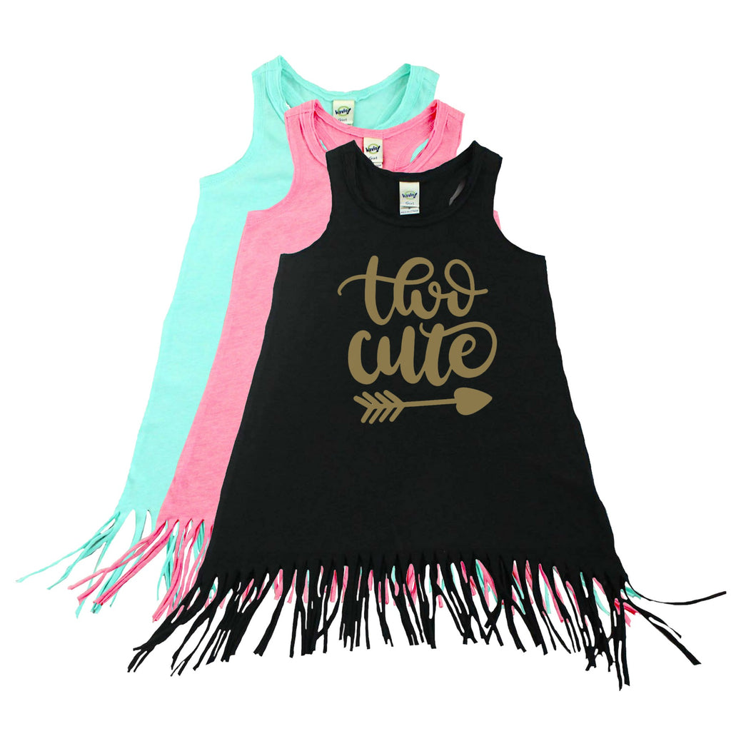 Black fringe dress with two cute written in gold