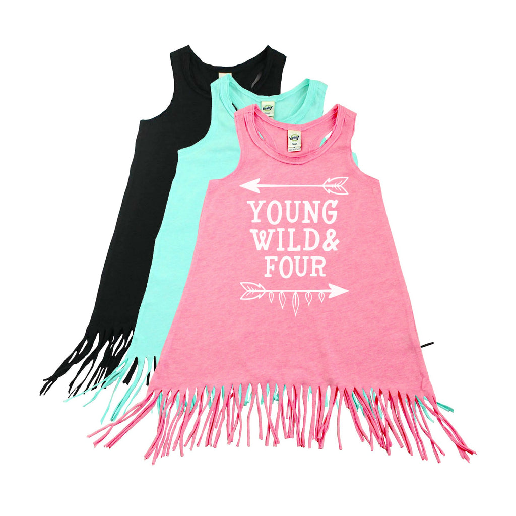 Pink fringe dress with young wild and four in white