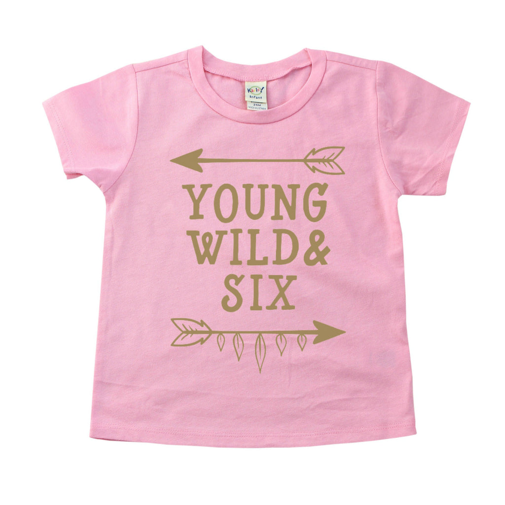 Pink tee with young wild and six in gold