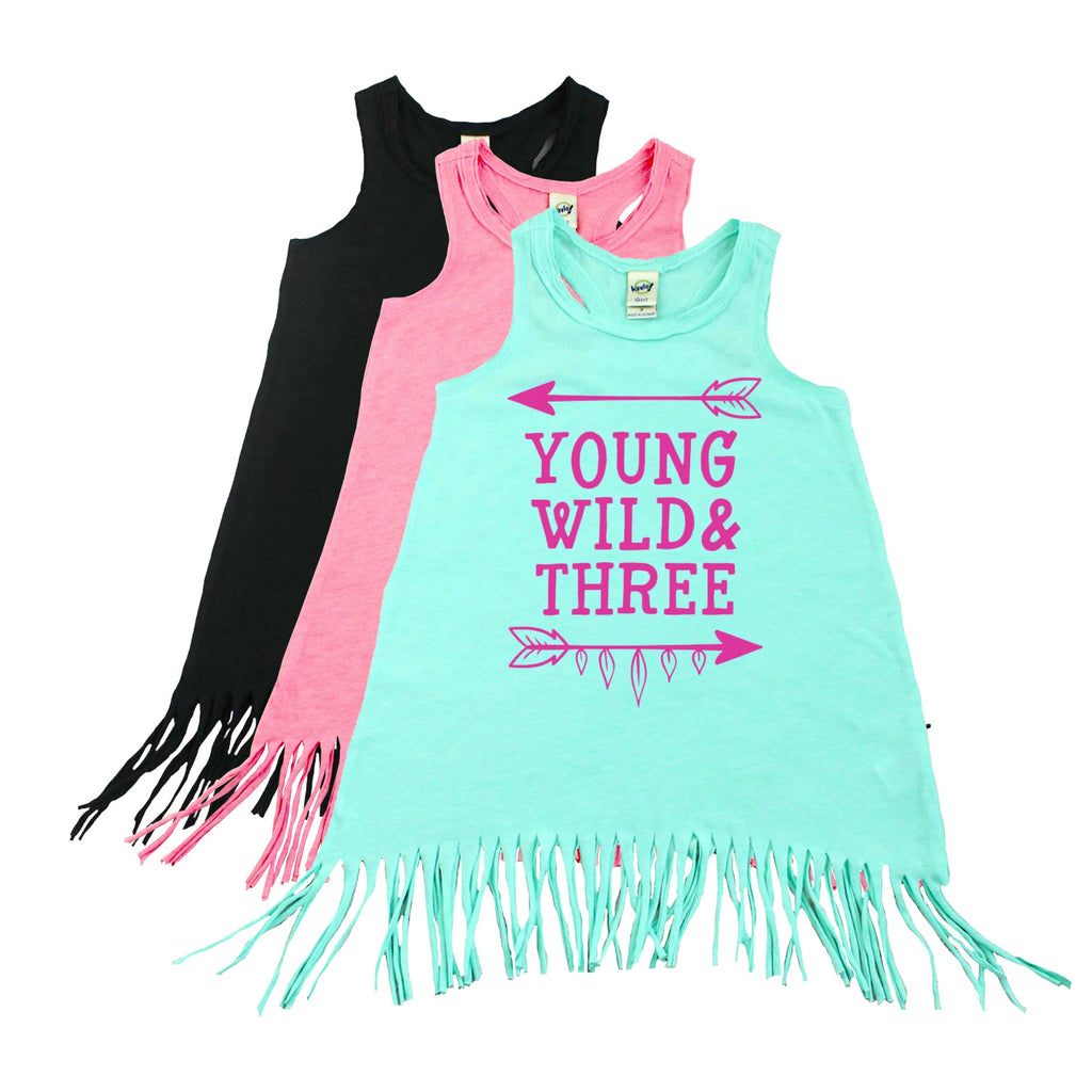 Green fringe dress with young, wild and three in pink lettering