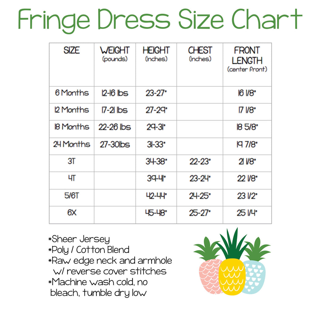 Fringe dress size chart