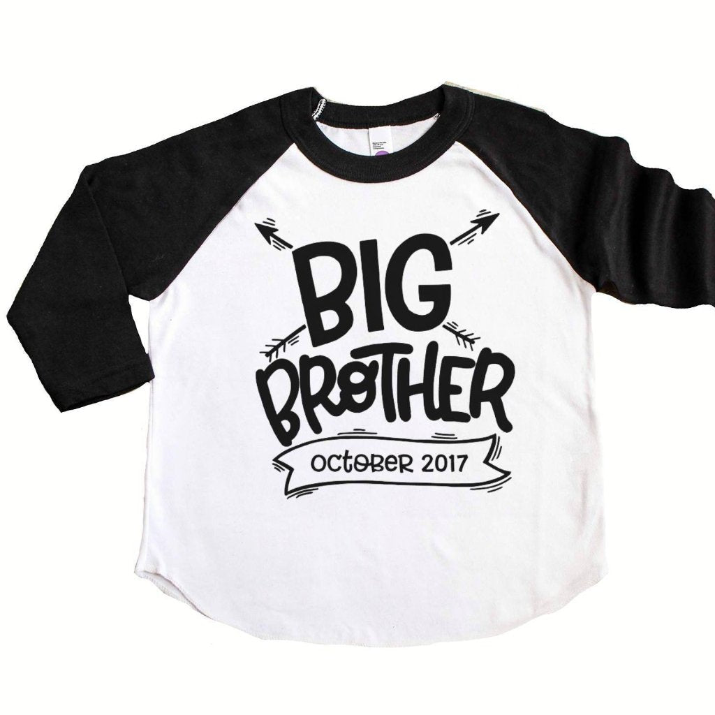 Black sleeve raglan with Big Brother and due date in black