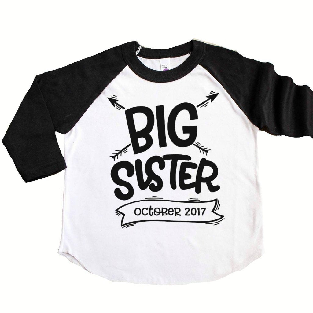 Black sleeve raglan with Big Sister and due date in black